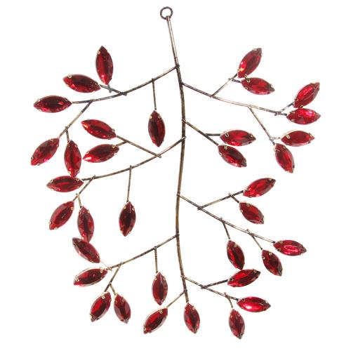 Декор Веточка металлич  с красными листьями из страз 18см