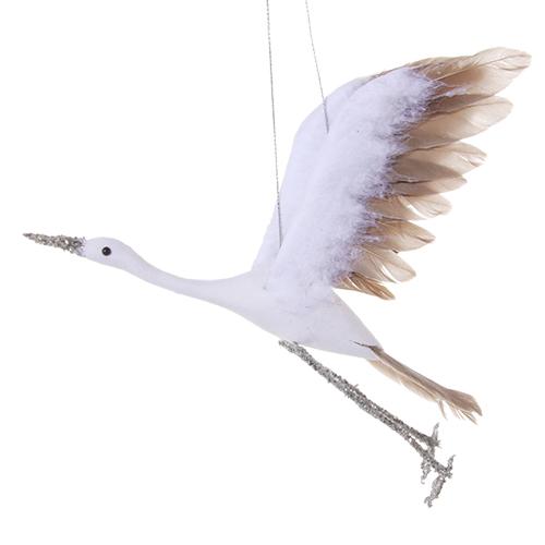 Декор Аист белый с перьями 21см