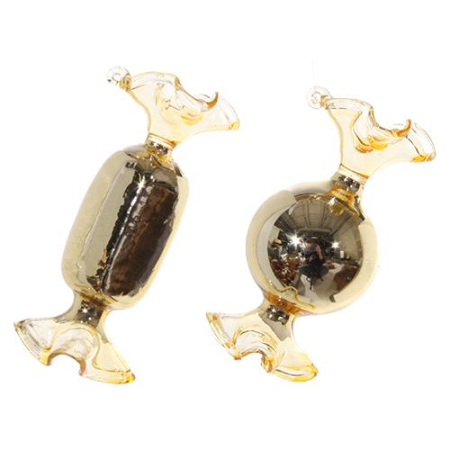 Декор Конфета стекло золотая глянцевая 8см 2 в ассорт