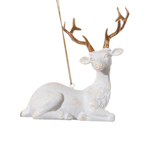 Декор Олень белый с золотыми рогами 10см