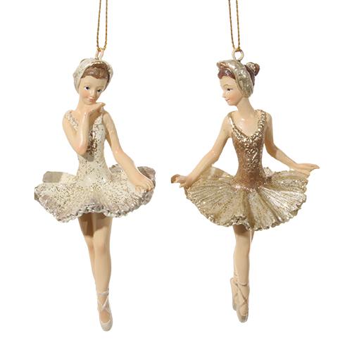 Декор Балерина 11см кремовая/золотая 2 в ассортименте