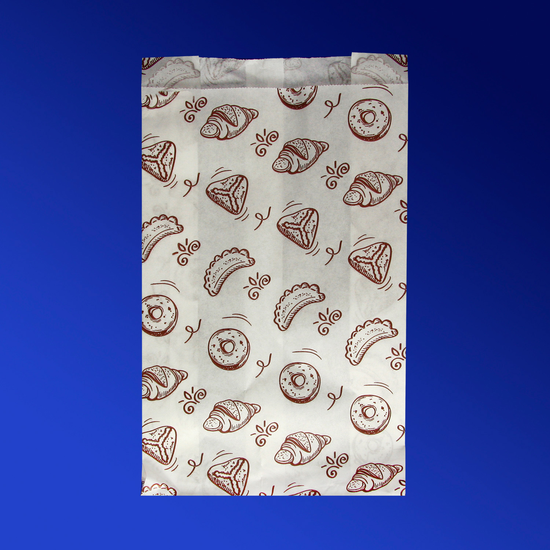 Пакет бумажный  25х14х6,0см белый с рисунком для выпечки  100шт/уп