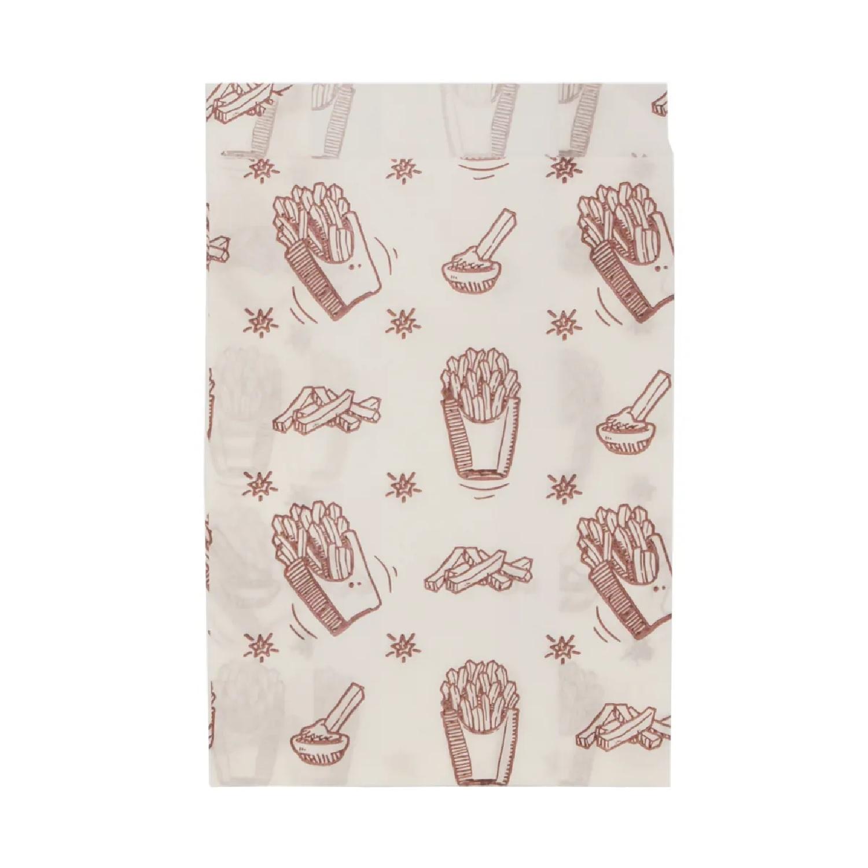 Пакет бумажный  17х11х5см белый с рисунком для фри жиростойкий 100 шт/уп