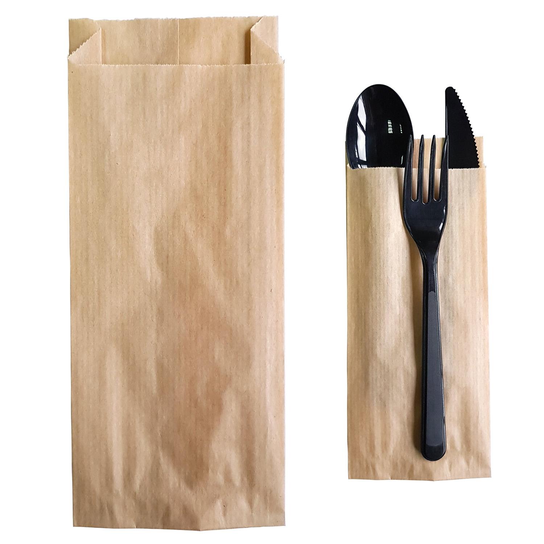 Пакет бумажный  20,0х8,0х2,0см коричневый  100 шт/уп