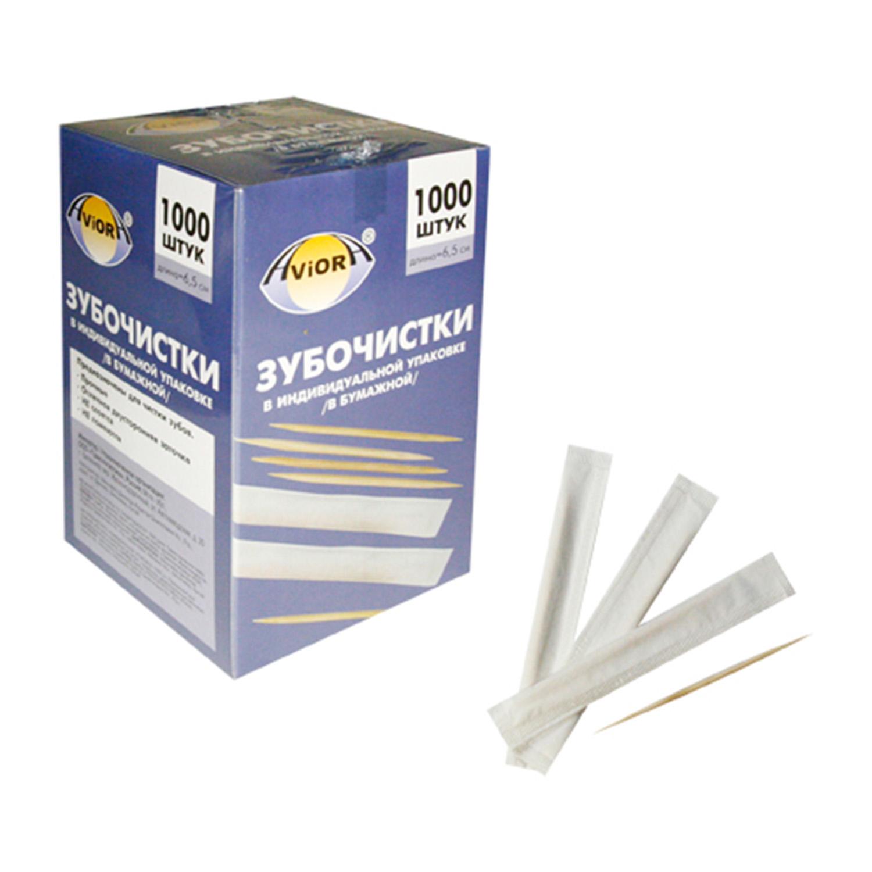 Зубочистки отдельно упакованные бум  бамбук 1000шт/уп