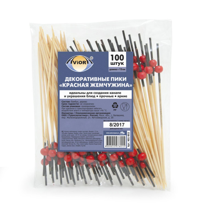 Шпажка  12см из бамбука Жемчужина красная 100шт/уп