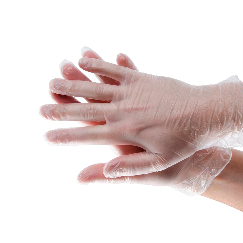 Перчатки из винила L прозрачнобелые 100шт/уп