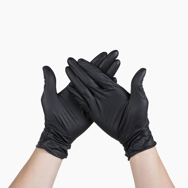 Перчатки из винила S черные  100шт/уп
