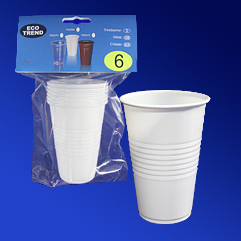 Стакан пластиковый PP 200мл белый  6 шт в уп  для горячих напитков