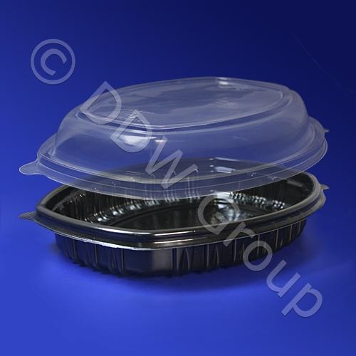 Контейнер ланч-бокс 1С черный с крышкой  СпК-257-1 25,7х20,2х3,7см